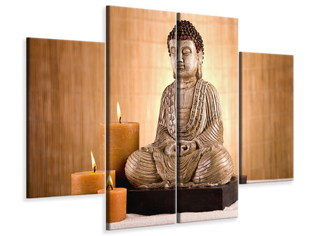 4 Piece Canvas Print Buddha In Meditation