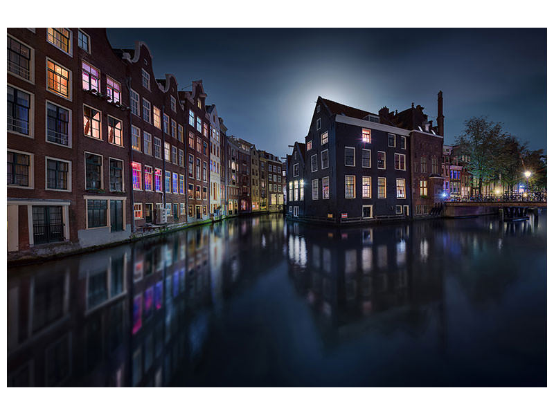 Stampa su tela Moonlight Over Amsterdam