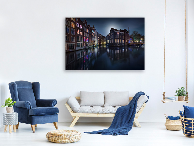 Tableau sur toile Moonlight Over Amsterdam