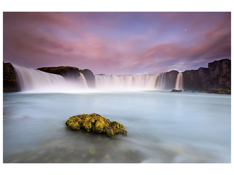 Canvas print Godafoss And The Moon