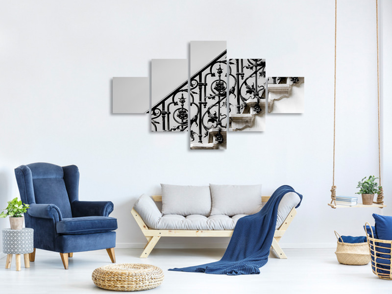 5 Piece Canvas Print Forged Handrail