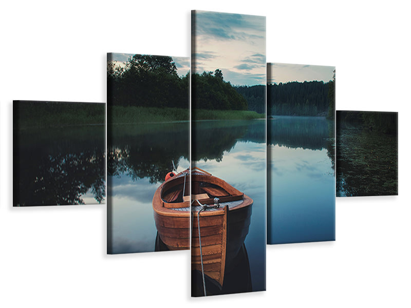 5 Piece Canvas Print Boat In Fog