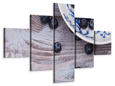 5 Piece Canvas Print Blueberries