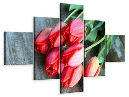 5 Piece Canvas Print The Red Tulip Bouquet